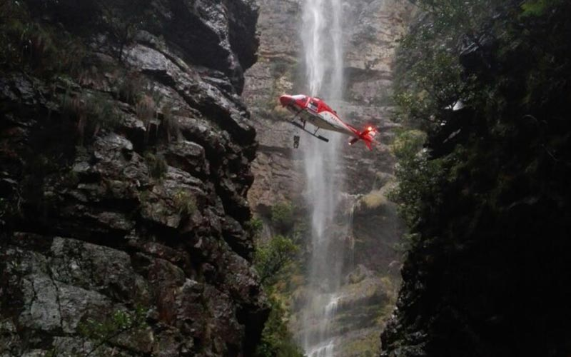 Jonkershoek – 2nd Waterfall – Fallen Hiker extracted by Skymed after overnight stay